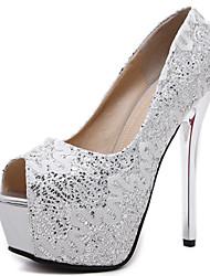 Damen-High Heels-Kleid-Stoff-StöckelabsatzSchwarz Silber