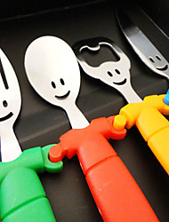 Set of 4 Smile Face Cultery Set Designed Plastic Handle Knife Spoon Fork Bottle Openner Random Color