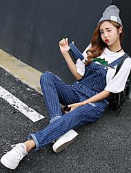 Women's Medium Waist Inelastic Loose Pants,Modern Loose Classic Solid Color Stripe