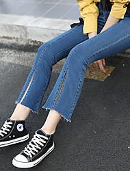 2016 spring Korean female split slightly flared trousers stretch Slim was thin waist wide leg jeans female nine points