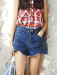 Korean wilde dünne Taille dunkelblaue Jeans-breiten weiblichen Beinhosen Shorts unterzeichnen