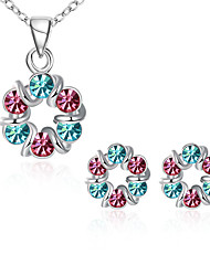 Fashion Platinum Plated Multi-Color Zircon Flower Necklace Earrings Jewelry Sets For Women Wedding/Party