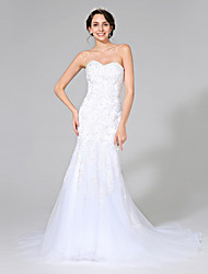 Trumpet / Mermaid Wedding Dress Sparkle & Shine Sweep / Brush Train Sweetheart Tulle with Appliques Beading Crystal