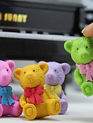 Cartoon Bear Design Mini Eraser Rubber British Stylish Xmas Bear Simulation Random Color