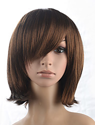 Natural Wave Short Bob Side Part Bangs Dark Brown Wig Cosplay Costume Wigs Hairstyle