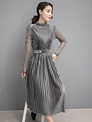 2017 Spring pleated skirt suit fashion tide female backing strap dress skirt piece