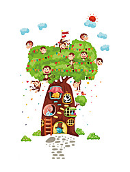 Wall Stickers Wall Decals Style Cartoon Monkey Paradise Tree House PVC Wall Stickers