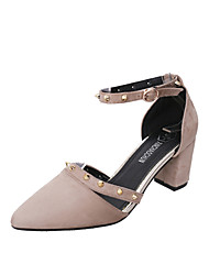 sandálias sapatos clube de verão escritório de lã ao ar livre&carreira ocasional robusto calcanhar rebite curta fivela