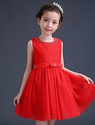 Ball Gown Knee-length Flower Girl Dress - Organza Sleeveless Jewel with Sash / Ribbon