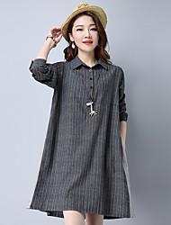 2017 neue Frauen&# 39; s groß war dünne vertikale Streifen Baumwollkleid langen Abschnitt von losen Leinen Röcke