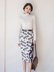 Frühjahr 2017 koreanische Version des Pakethüftekleid Frauen Taille Röcke nach Split Rock große Yards Mädchen näht Druck