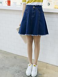 Sign 2017 wild sweet temperament a word skirt flounced skirts denim skirt waist edges