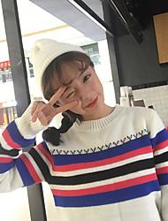 unterzeichnen koreanischen Farbstreifenbannfarbe lose langärmelige Pullover