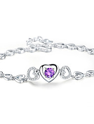 Women's Chain Bracelet Crystal Crystal Alloy Natural Fashion Heart Light Purple Jewelry 1pc