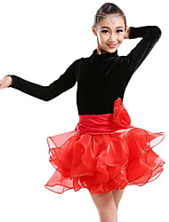 Latin Dance Dresses Children's Performance Tulle Velvet Pleated Splicing 1 Piece Long Sleeve High Dress
