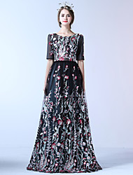 Formal Evening Dress A-line Jewel Floor-length Lace Tulle Polyester with Embroidery Flower(s) Lace Bandage