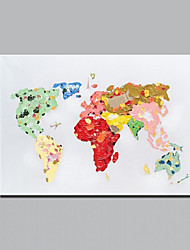 Colorful World Map Oil Painting Hand Painted Modern Abstract Decorative Canvas Picture for Living Room Wall Art Artwork With Frame