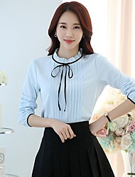 Going out Casual/Daily Work Simple Street chic Blouse,Solid Stand Long Sleeve Blue White Polyester