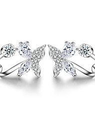 925 Sterling Silver Necklace AAA Cubic Zirconia Stud Earrings Jewelry Butterfly Party Daily Casual Sterling Silver 1 pair Silver