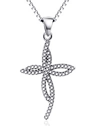Pendants Sterling Silver Zircon Cubic Zirconia Cross Cross Silver Jewelry Daily Casual 1pc