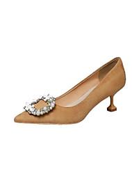 Women's Heels T-Strap PU Spring Summer Casual T-Strap Sparkling Glitter Low Heel Black Khaki 3in-3 3/4in