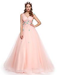 Formales Abendkleid - elegantes a-line V-Ausschnitt bodenlangen Spitzen Tüll mit Applikationen Perlenblumen (s) Falten