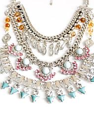 Feminino colares em camadas Jóias Jóias Gema Liga Original Dupla camada Moda Euramerican Multi Camadas Jóias de Luxo Europeu Prata Jóias