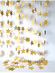 RayLineDo® 1 Piece 4 Metres Golden Paper Garland For Wedding Birthday Anniversary Party Christmas Girls Room Decoration Stars Shape 10*10CM