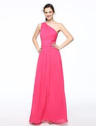 2017 Lanting Bride® Floor-length Chiffon Elegant Bridesmaid Dress - A-line One Shoulder with Sash / Ribbon Pleats