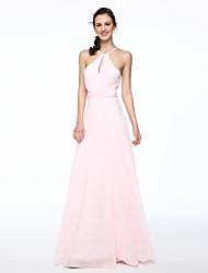 2017 Lanting Bride® Floor-length Chiffon Elegant Bridesmaid Dress - A-line Halter with Beading Pleats