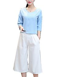 Camicia Pantalone Completi abbigliamento Da donna Per uscire Casual Ufficio Sexy Moda città sofisticato All Seasons Con molla,Tinta unita