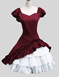 Outfits Sweet Lolita Princess Cosplay Lolita Dress Solid Cap Short Sleeve Long Length Skirt Dress Petticoat For Cotton