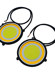 2pcs Diameter 90mm LED COB DRL Daytime Running Lights DC12V External Waterproof Led Car Styling Car Light Source Parking Fog Turning Lamp