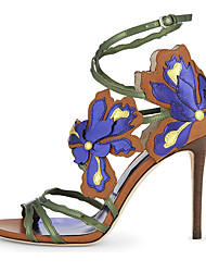 Women's Sandals Spring Summer Fall Other PU Party & Evening Dress Casual Stiletto Heel Flower Blue