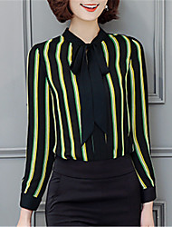 Fashion Lapel Long Sleeves Stripe Bow Tie Upper Outer Garment Daily Leisure Party Dating Occupation OL Shirt