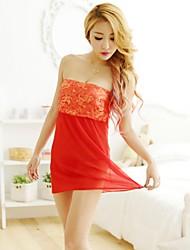 Damen Besonders sexy Anzüge Nachtwäsche,Sexy Spitze einfarbig-Netz Polyester Satin Dünn Damen