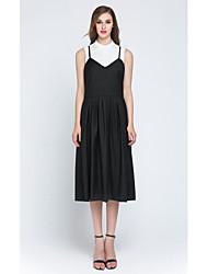 Mujer Corte Swing Vestido Casual/Diario Fiesta/Cóctel Simple Chic de Calle,Un Color Escote Chino Asimétrico Sin Mangas NegroAlgodón
