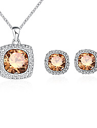 Fashion Platinum Plated AAA Zircon Crystal & Glass Square Necklace Earrings Jewelry Sets For Women Wedding/Party