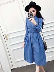 знак весной новый износ квадратный воротник джинсовой рукава две большие качели талии платье NETT