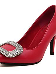 Women's Heels Spring PU Dress Low Heel Rhinestone Red