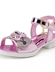 Girls' Sandals Spring Summer Patent Leather Wedding Dress Casual Party & Evening Low Heel Bowknot Gold Silver Purple