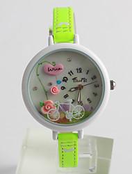 Women's Fashion Watch Quartz / PU Band Flower Casual Green Brand