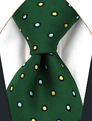 AXL16 Men's Necktie Green Dots 100% Silk Business Dress Casual For Men Jacquard Woven