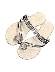 Women's Sandals Spring Summer Fall Comfort PU Dress Casual Flat Heel Rhinestone Black Sliver Pink