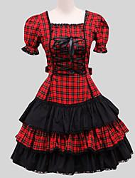 One-Piece/Dress Gothic Lolita Vintage Inspired Cosplay Lolita Dress Plaid Puff/Balloon Short Sleeves Long Length Dress Petticoat For