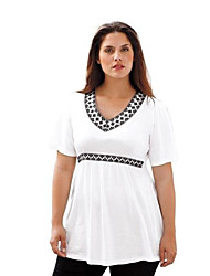 Damen Solide Street Schick Anspruchsvoll Ausgehen Lässig/Alltäglich T-shirt,V-Ausschnitt Frühling Sommer Kurzarm Blau Weiß Schwarz Lila