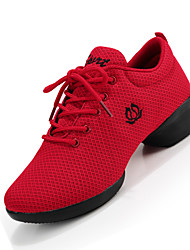 Non Customizable Women's Dance Shoes Fabric Fabric Modern Sneakers Chunky Heel Beginner Black Red White