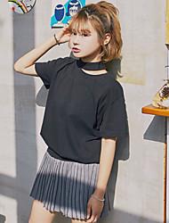 знак корейских диких сплошной цвет с коротким рукавом футболки женский тройник