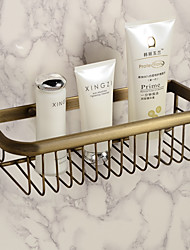 Wall Mounted Antique New Copper Bathroom Shower Shampoo Shelf Shampoo Soap Cosmetic Storage Basket Holder Fashion Single Layer