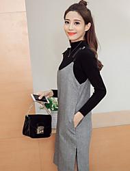 signe 2017 ressort à col roulé en laine robe de sangle de deux pièces robe femme coréenne